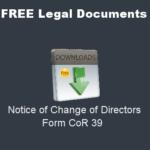 Notice of Change of Directors - Form CoR 39